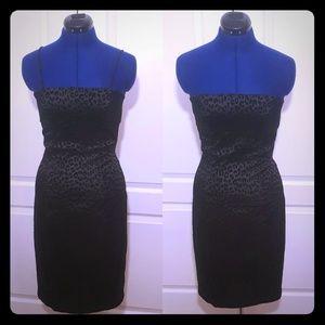 Vintage Guess Dress- Black Velvet Leopard Pattern